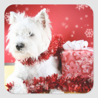 Westie Snowflake Holiday Design Square Sticker