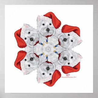 Westie Snowflake Poster