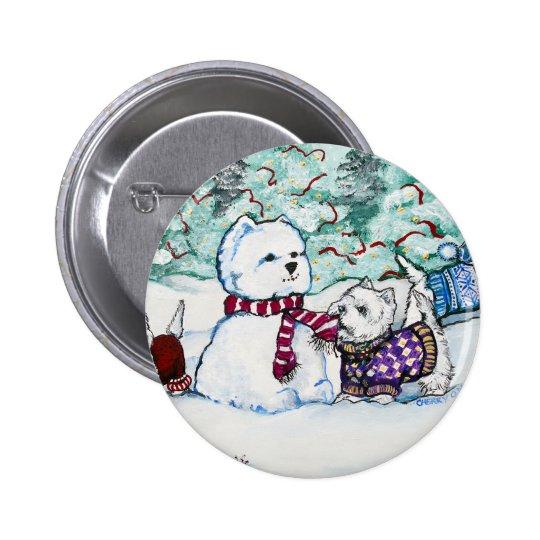 Westie Snowman Button