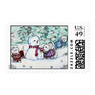 Westie Snowman Stamps