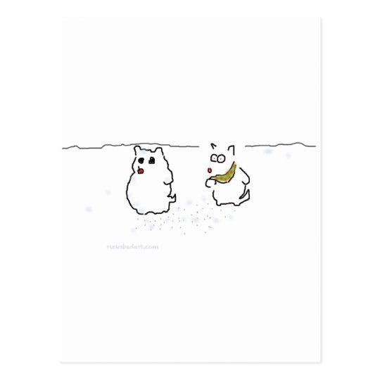 Westie snowman postcard