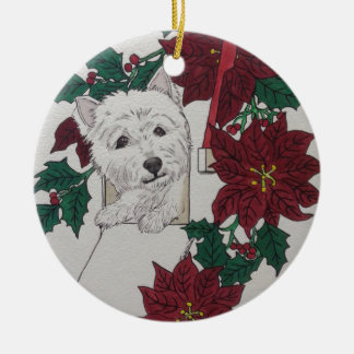 Westie Special Delivery For the Holidays Ceramic Ornament