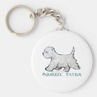 Westie Squirrel Patrol Basic Round Button Keychain