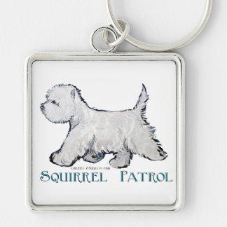 Westie Squirrel Patrol Silver-Colored Square Keychain