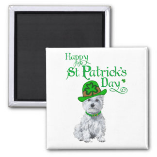 Westie St Patricks Day 2 Inch Square Magnet