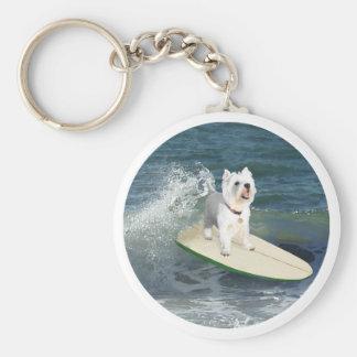 Westie Surfer Keychains