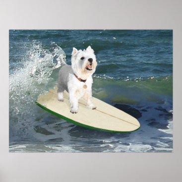 Beach Themed Westie Surfer Poster