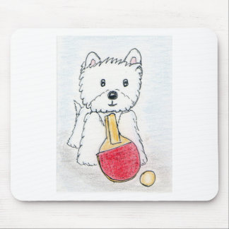 WESTIE TABLE TENNIS MOUSE PAD