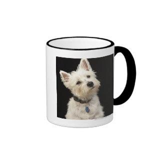 Westie (terrier del oeste de la montaña) con el taza de dos colores