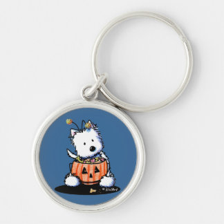 Westie Trick For Treat Silver-Colored Round Keychain