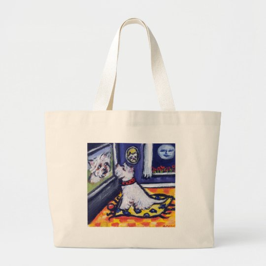 Westie TV watcher Large Tote Bag