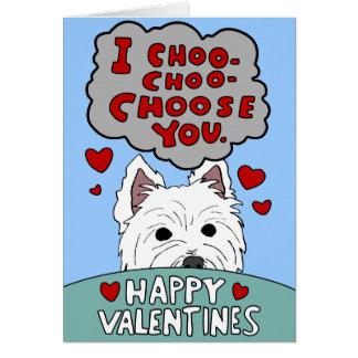 Westie Valentine Choo Choo Choose You Card