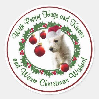 Westie Warm Christmas Wishes Round Seals Classic Round Sticker