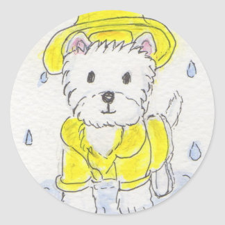 WESTIE WEARING RAINCOAT CLASSIC ROUND STICKER