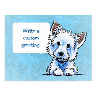 Westie Wesley escribe sus los propios Postal