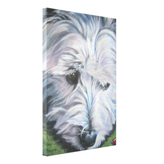 Westie West Highland Terrier fine art dog painting Gallery Wrapped Canvas
