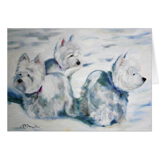 Westie West Highland Terrier Snow Dog Card