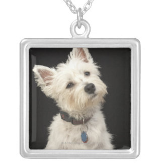 Westie (West Highland terrier) with collar Silver Plated Necklace