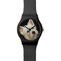 Westie (West Highland terrier) with collar Wrist Watch