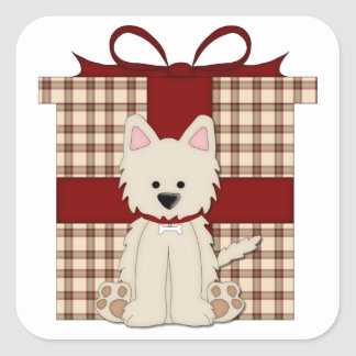 Westie West Highland White Terrier Christmas Square Stickers
