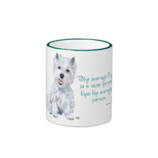 Westie Wisdom - The average Dog is a nicer person Ringer Mug