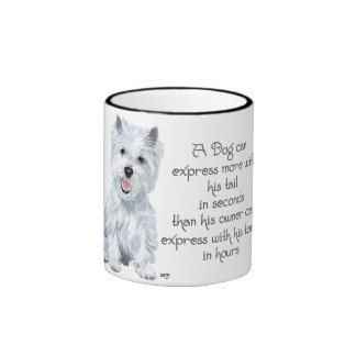 Westie Wisdom - Wagging Tail or Tongue? Ringer Mug