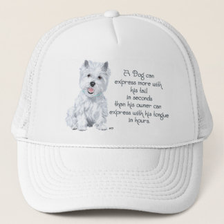 Westie Wisdom - Wagging Tail or Tongue? Trucker Hat