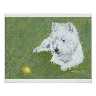Westie with a Ball Poster