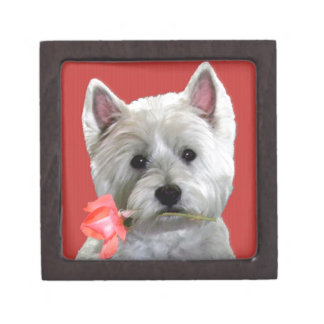 WESTIE WITH A ROSE FOR YOU PREMIUM KEEPSAKE BOXES