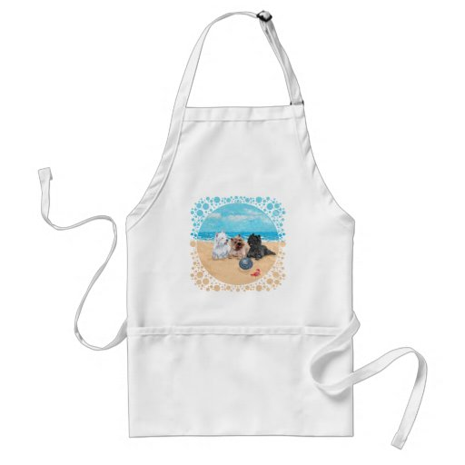 Westie with Cairn Terriers at the Beach Aprons
