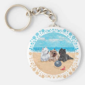 Westie with Cairn Terriers at the Beach Keychain