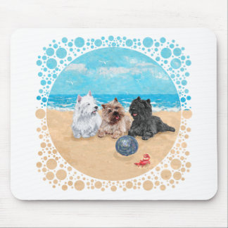 Westie with Cairn Terriers at the Beach Mousepads