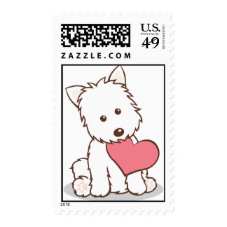 Westie with heart stamps