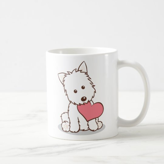 Westie with Heart Shape Mug