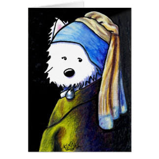 Westie with Pearl Earring Card