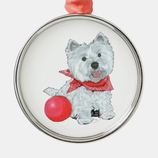 Westie With Red Ball Christmas Ornament