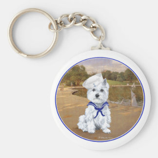 Westie with Sailboats Key Chain