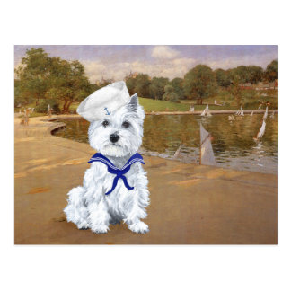 Westie with Sailboats Postcard
