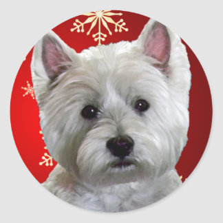 WESTIE WITH SNOWFLAKES CLASSIC ROUND STICKER