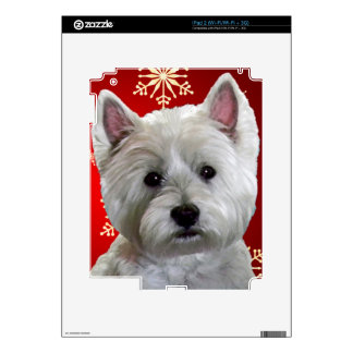 WESTIE WITH SNOWFLAKES DECAL FOR iPad 2