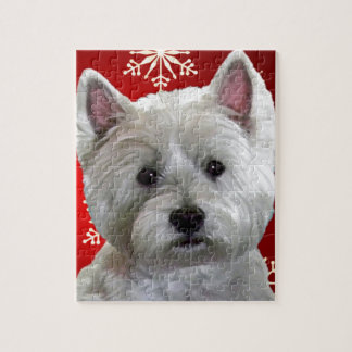 WESTIE WITH SNOWFLAKES JIGSAW PUZZLE