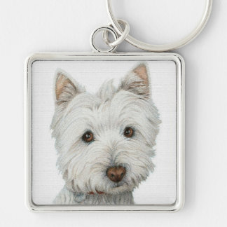 Westie with texture effect Silver-Colored square keychain