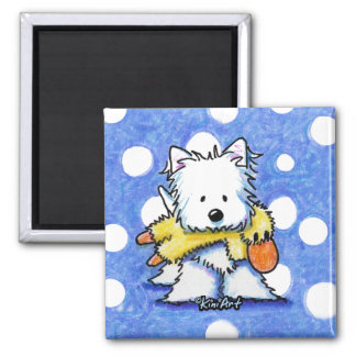Westie With Toy Duck Magnet