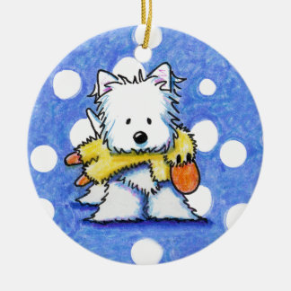 Westie with Toy Duck Ornament
