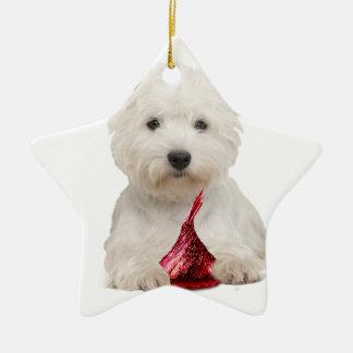 Westie y beso de caramelo rojo adorno navideño de cerámica en forma de estrella