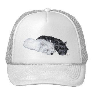 Westie y escocés en la facilidad gorras