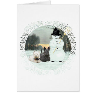 Westie y estructura del escocés un muñeco de nieve tarjeta de felicitación