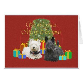 Westie y Felices Navidad del escocés Tarjeton