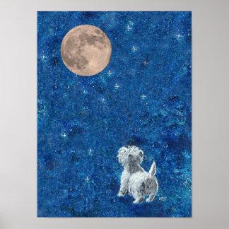 Westie y Luna Llena Posters