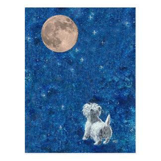 Westie y Luna Llena Tarjetas Postales